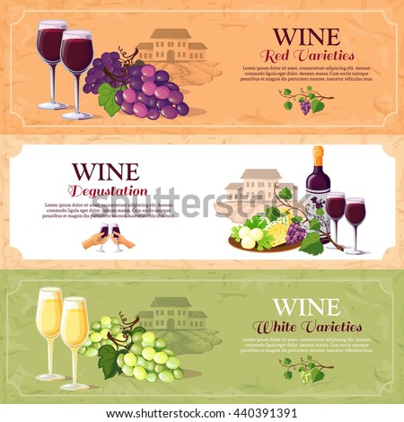 Wine horizontal banners set with red and white varieties and advertising of degustation hall flat vector illustration - stock vector