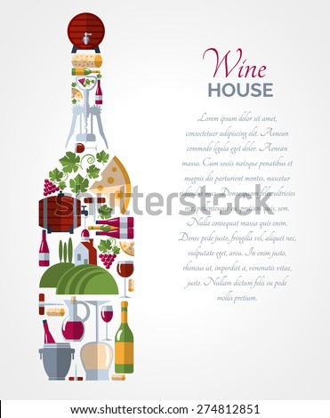 Wine house advertisement icons composition bottle shape poster with ice bucket and cheese abstract vector isolated illustration - stock vector