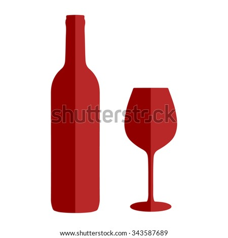 Wine icon set flat style isolated on white background.Wedding, anniversary, birthday, Valentine's day, party invitations. Wine bottle and wine glass vector illustration in flat style. - stock vector