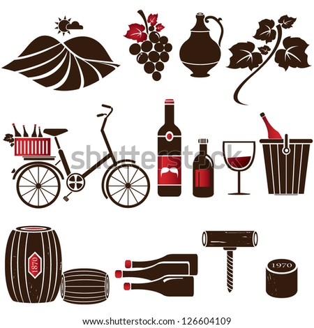 wine icon set, vector - stock vector