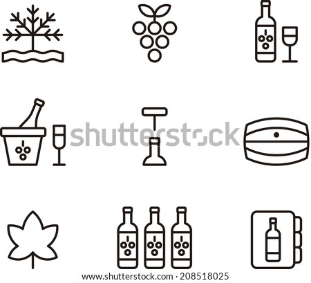Wine icons - stock vector