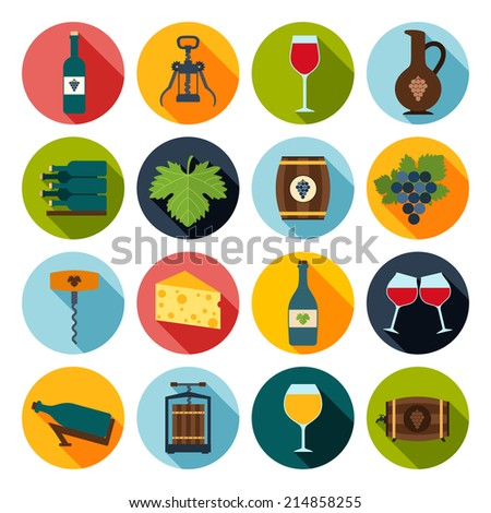 Wine icons set of grape bottle glass corkscrew isolated vector illustration - stock vector