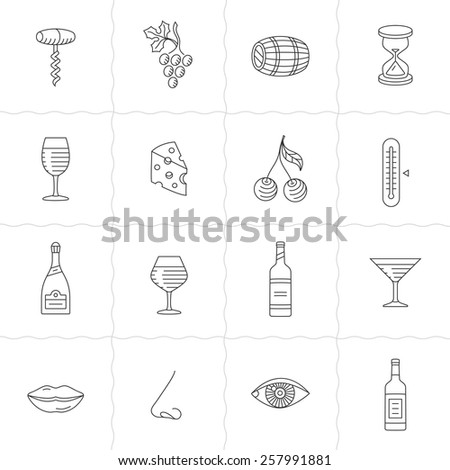 Wine icons set - procurement, storage, cellar rotation and tasting. Vector icons for wine labels. Simple outlined icons. Linear style - stock vector