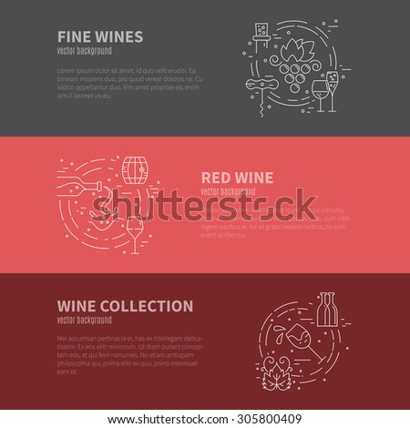 Wine industry template with different stages of winemaking process. Wine elements and design. Line style vector.