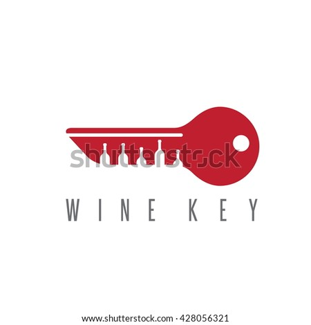 wine key concept with bottles vector design template - stock vector