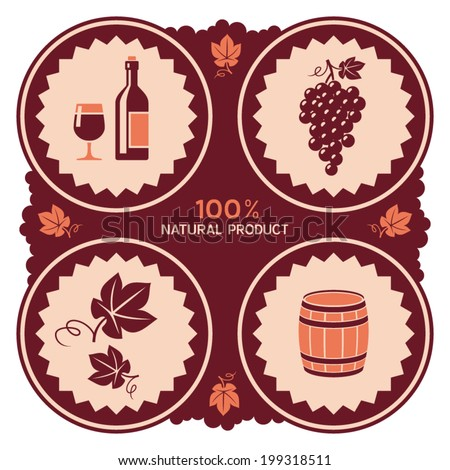 Wine label design with grape and barrel icons - stock vector
