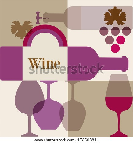 wine label or wine menu bar template design - stock vector