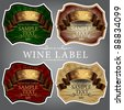 wine label with a gold ribbon in four colors - stock vector