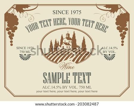 Wine Label Landscape Vineyards Stock Vector 203082487