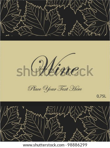 wine label with grey leaves background - stock vector