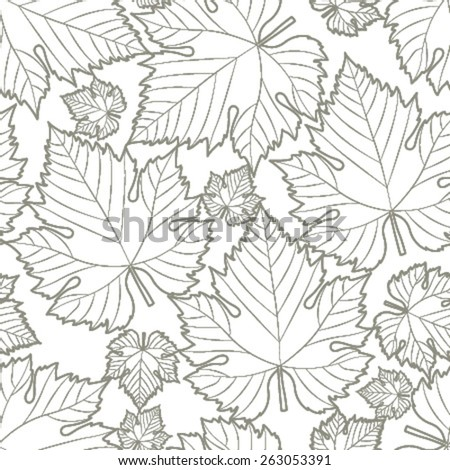 wine leaf grey on white transparent seamless pattern - stock vector