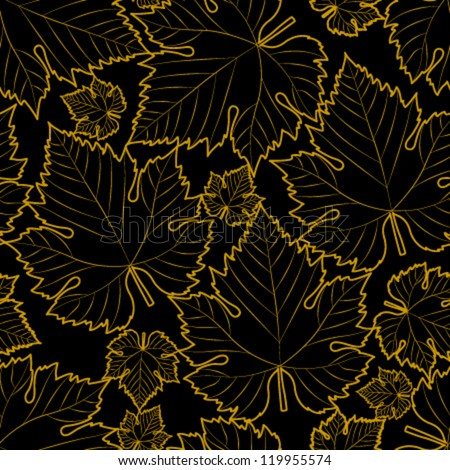 wine leaf yellow on black seamless pattern