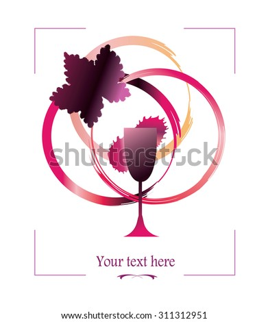 Wine list cover - vector illustration. Wine glass, grape leaf silhouette and circle stains, paint by red and purple brush strokes. As cover, wine tasting invitation. Grunge watercolor wine background. - stock vector