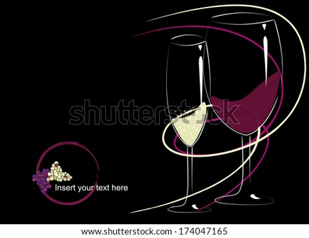 wine list design, red and white wine glasses on dark background - stock vector