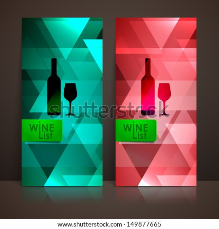 wine list design with a bottle and a wineglass signs - stock vector