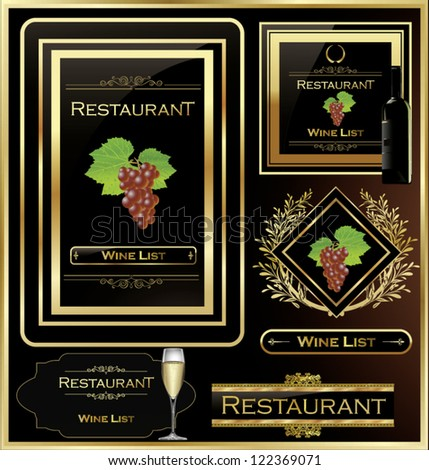 Wine list elegant design - stock vector