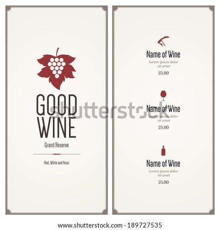 Wine list. Flat design - stock vector