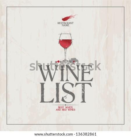 Wine List Menu Card Design template. - stock vector