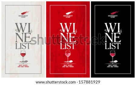 Wine list menu cards collection. - stock vector