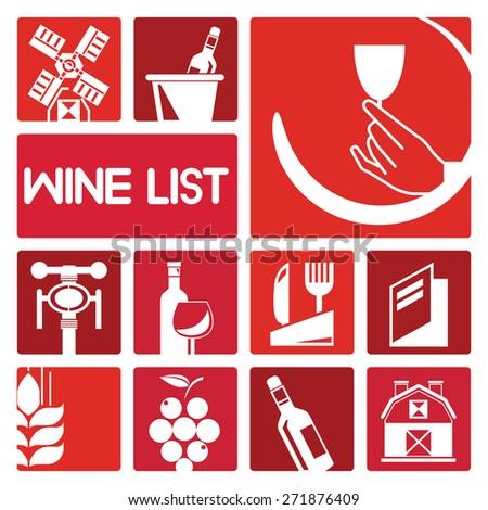 wine list, wine icons set - stock vector