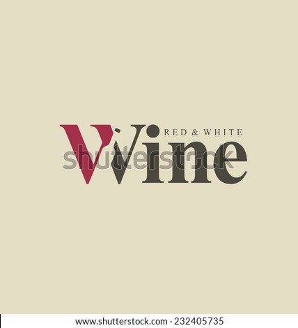 Wine logo design idea with bottle in negative space. Typography concept for vineyard. Abstract winery sign. Vector template. - stock vector