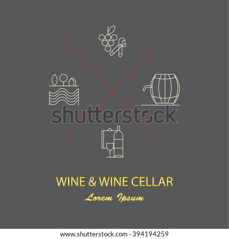 Wine logotypes. Set of design elements for wineries, restaurants and wine shops. Logo or label for wine and winery. Vineyard symbols collection including bottle, glass, grape, corckscrew.  - stock vector