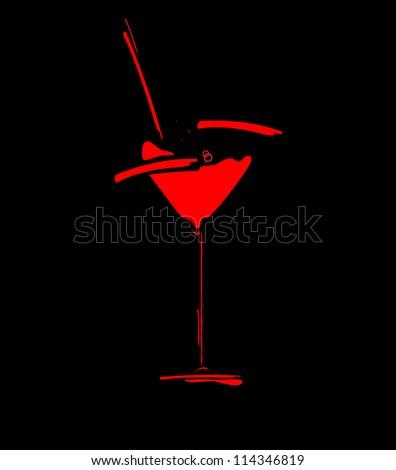 wine menu concept splash vector glass - stock vector