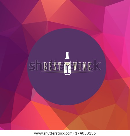 Wine menu design template - vector card on a triangle background - stock vector