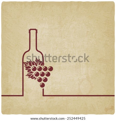 wine menu with bottle and grapes old background - vector illustration. eps 10 - stock vector
