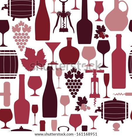 Wine seamless background. - stock vector