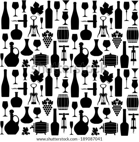 Wine seamless pattern - stock vector