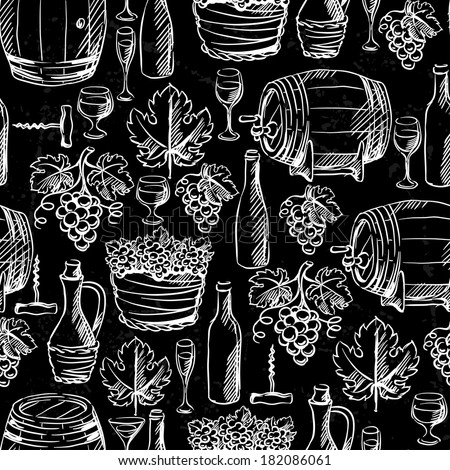 Wine seamless pattern drawn by chalk. - stock vector