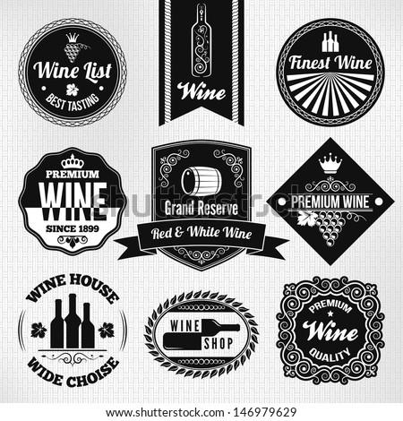 wine set - stock vector