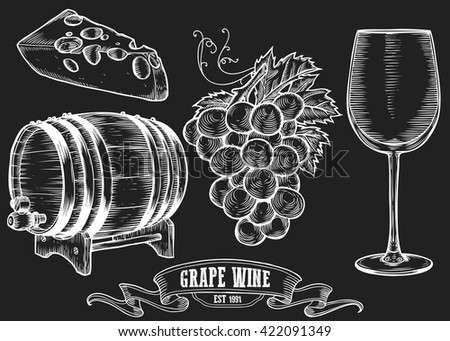 Wine set. Winemaking products in sketch retro vintage style. Hand drawn Vector sketch illustration with wine barrel, grapes, wine glass, cheese, grape twig. Classical alcoholic drink. White on black - stock vector