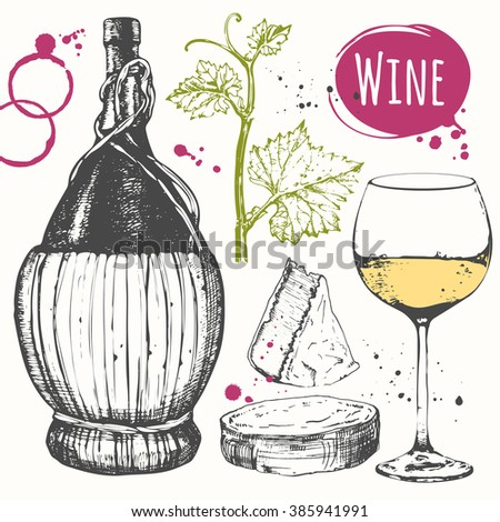 Wine set. Winemaking products in sketch style. Vector illustration with wine glass, corkscrew, old wine bottle, grape twig, cheese. Classical alcoholic drink. - stock vector
