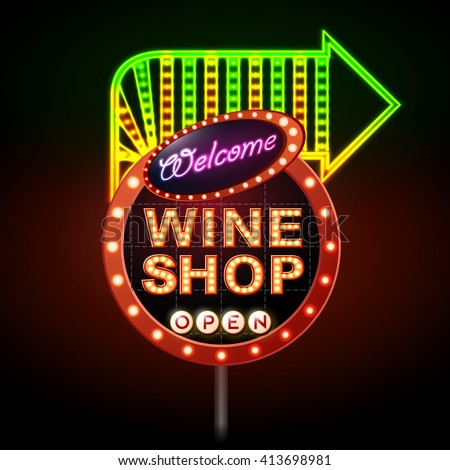 Wine shop neon sign