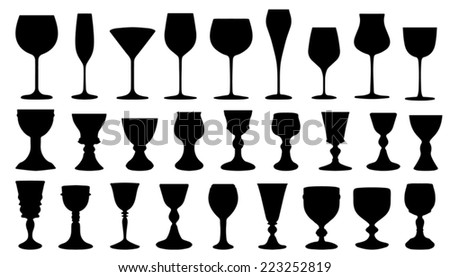 wine silhouettes on the white background - stock vector
