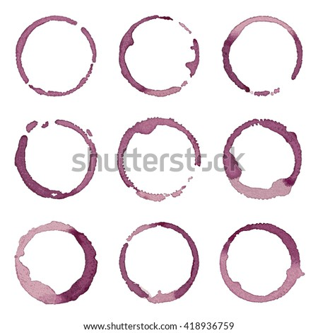 Wine stains hand drawn vector set - stock vector