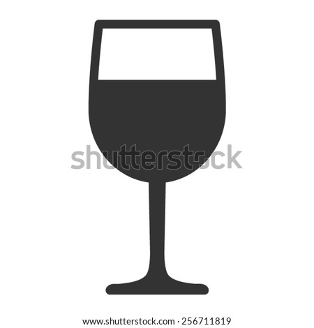 Wine tasting glass flat icon for apps - stock vector
