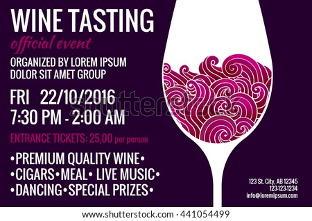 Wine tasting party flyer with stylized glass of red wine with swirls inside. Degustation invitation. EPS 10 vector design template. - stock vector