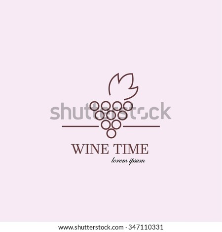 Wine Time. Vector illustration. Logo made in pink and red colors. Can be used in restaurant industry - stock vector
