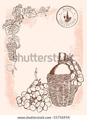 Wine vignette - background - stock vector