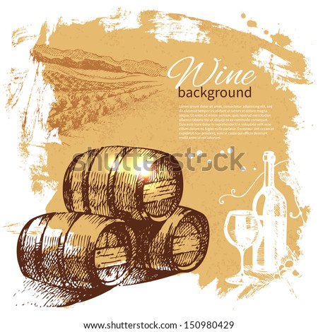Wine vintage background. Hand drawn illustration. Splash blob retro design  - stock vector