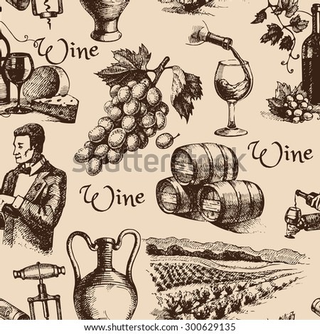 Wine vintage hand drawn sketch seamless pattern - stock vector