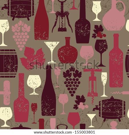 Wine vintage seamless pattern. - stock vector