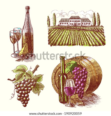 Wine vintage sketch decorative hand drawn icons set of barrel grape branch winery isolated vector illustration - stock vector