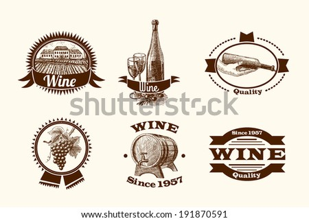 Wine vintage sketch decorative hand drawn labels set of barrel grape branch winery isolated vector illustration - stock vector