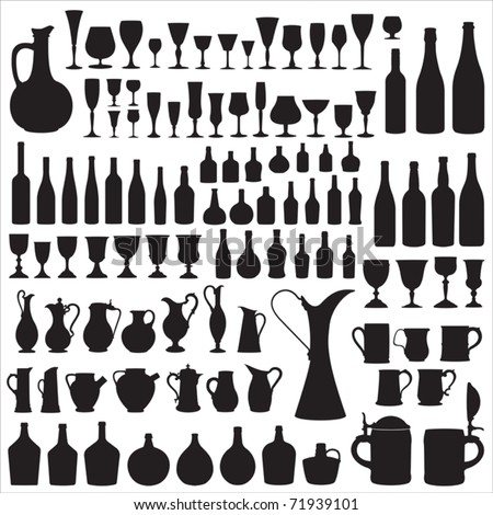 Wine ware silhouettes - stock vector