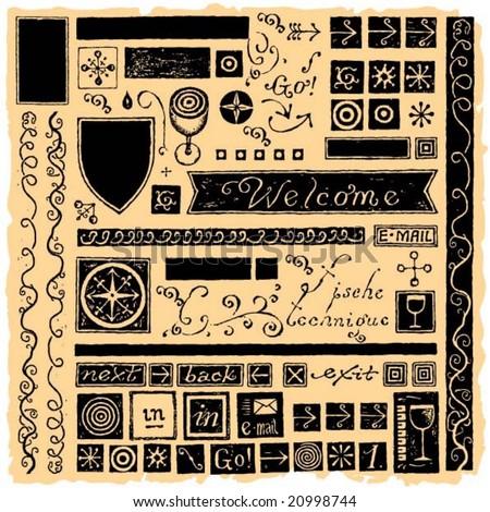 wine web elements typography and icons black on orange background - stock vector