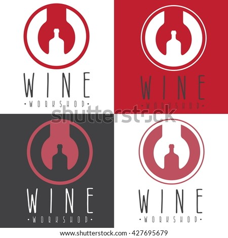 wine workshop negative space concept with wrench and bottle - stock vector